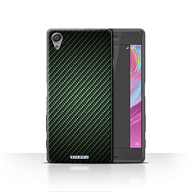 STUFF4 Case/Cover for Sony Xperia X / Green Design / Carbon Fibre Effect/Pattern Collection Mobile phones