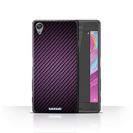 STUFF4 Case/Cover for Sony Xperia X / Purple Design / Carbon Fibre Effect/Pattern Collection Mobile phones