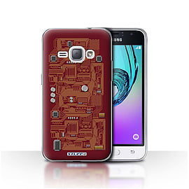 STUFF4 Case/Cover for Samsung Galaxy J1 2016 / Red Design / Circuit Board Collection Mobile phones