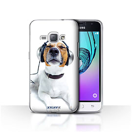 STUFF4 Case/Cover for Samsung Galaxy J1 2016/Chillin Headphone Dog Design/Funny Animals Mobile phones