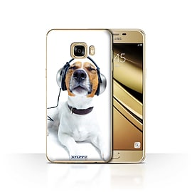 STUFF4 Case/Cover for Samsung Galaxy C7 / Chillin Headphone Dog Design / Funny Animals Collection Mobile phones