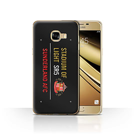 Sunderland AFC Case/Cover for Samsung Galaxy C5/Black/Gold Design/SAFC Stadium of Light Sign Mobile phones