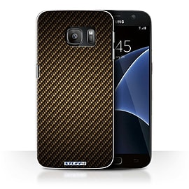 STUFF4 Case/Cover for Samsung Galaxy S7/G930 / Gold Design / Carbon Fibre Effect/Pattern Collection Mobile phones