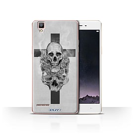 STUFF4 Case/Cover for Oppo F1 / Cross/Crucifix Design / Skull Art Sketch Collection Mobile phones