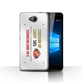 Sunderland AFC Case/Cover for Microsoft Lumia 650/White/Gold Design/SAFC Stadium of Light Sign Mobile phones