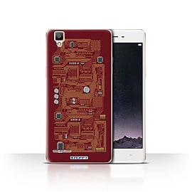 STUFF4 Case/Cover for Oppo F1 / Red Design / Circuit Board Collection Mobile phones