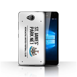 Newcastle United FC Case/Cover for Microsoft Lumia 650/White/Black Design/St James Park Sign Mobile phones