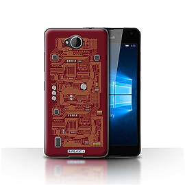 STUFF4 Case/Cover for Microsoft Lumia 650 / Red Design / Circuit Board Collection Mobile phones