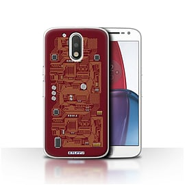 STUFF4 Case/Cover for Motorola Moto G4 Plus 2016 / Red Design / Circuit Board Collection Mobile phones