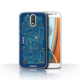 STUFF4 Case/Cover for Motorola Moto G4 2016 / Blue Design / Circuit Board Collection Mobile phones