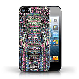 STUFF4 Case/Cover for Apple iPhone SE / Elephant-Colour Design / Aztec Animal Design Collection Mobile phones
