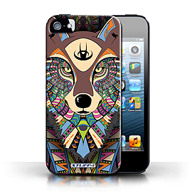 STUFF4 Case/Cover for Apple iPhone SE / Wolf-Colour Design / Aztec Animal Design Collection Mobile phones