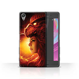 Official Elena Dudina Case/Cover for Sony Xperia X / Red Girl Design / Dragon Reptile Collection Mobile phones