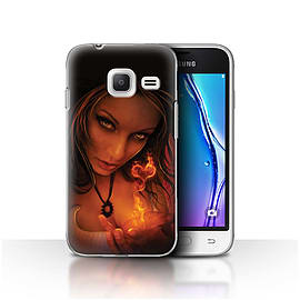 Official Elena Dudina Case/Cover for Samsung Galaxy J1 Nxt/Mini/Flaming Heart Design/Love Art Mobile phones