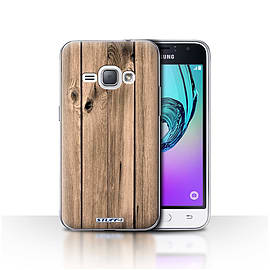 STUFF4 Case/Cover for Samsung Galaxy J1 2016 / Plank Design / Wood Grain Effect/Pattern Collection Mobile phones