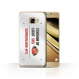 Official Sunderland AFC Case/Cover for Samsung Galaxy C7/White/Red Design/SAFC Stadium of Light Sign Mobile phones