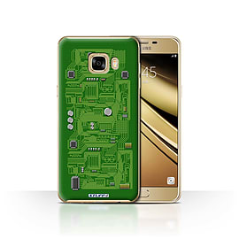 STUFF4 Case/Cover for Samsung Galaxy C7 / Green Design / Circuit Board Collection Mobile phones