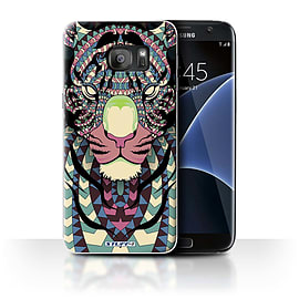 STUFF4 Case/Cover for Samsung Galaxy S7 Edge/G935/Tiger-Colour Design/Aztec Animal Mobile phones