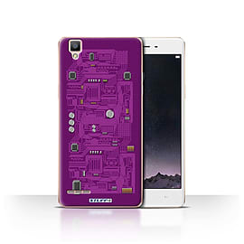STUFF4 Case/Cover for Oppo F1 / Purple Design / Circuit Board Collection Mobile phones
