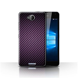 STUFF4 Case/Cover for Microsoft Lumia 650 / Purple Design / Carbon Fibre Effect/Pattern Collection Mobile phones