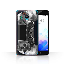 STUFF4 Case/Cover for Meizu M3 / White Camouflage Design / Playstation PS4 Collection Mobile phones