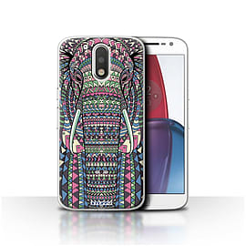 STUFF4 Case/Cover for Motorola Moto G4 Plus 2016/Elephant-Colour Design/Aztec Animal Mobile phones