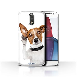 STUFF4 Case/Cover for Motorola Moto G4 Plus 2016 / Listening Dog Design / Funny Animals Collection Mobile phones