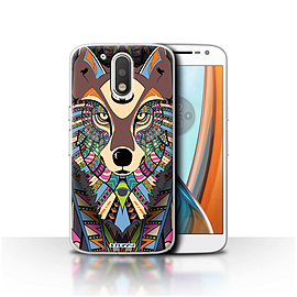STUFF4 Case/Cover for Motorola Moto G4 2016 / Wolf-Colour Design / Aztec Animal Design Collection Mobile phones