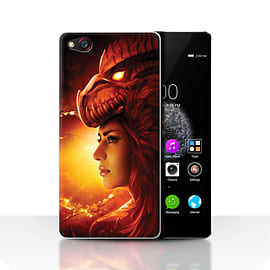 Official Elena Dudina Case/Cover for ZTE Nubia Z9 / Red Girl Design / Dragon Reptile Collection Mobile phones