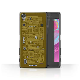 STUFF4 Case/Cover for Sony Xperia X Performance / Yellow Design / Circuit Board Collection Mobile phones