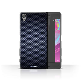 STUFF4 Case/Cover for Sony Xperia X Performance/Blue Design/Carbon Fibre Effect/Pattern Mobile phones