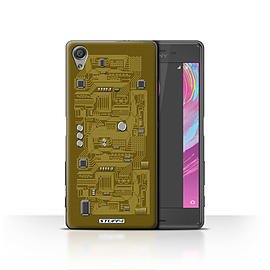 STUFF4 Case/Cover for Sony Xperia X / Yellow Design / Circuit Board Collection Mobile phones