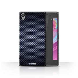 STUFF4 Case/Cover for Sony Xperia X / Blue Design / Carbon Fibre Effect/Pattern Collection Mobile phones