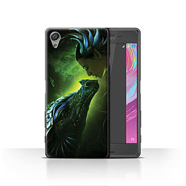 Official Elena Dudina Case/Cover for Sony Xperia X / Green Scales Design / Dragon Reptile Collection Mobile phones