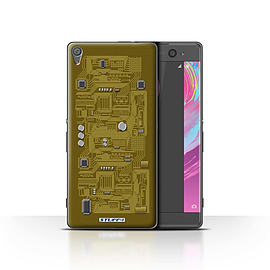 STUFF4 Case/Cover for Sony Xperia XA / Yellow Design / Circuit Board Collection Mobile phones