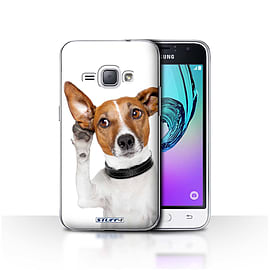 STUFF4 Case/Cover for Samsung Galaxy J1 2016 / Listening Dog Design / Funny Animals Collection Mobile phones