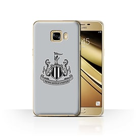 Official Newcastle United FC Case/Cover for Samsung Galaxy C7/Mono/Grey Design/NUFC Football Crest Mobile phones