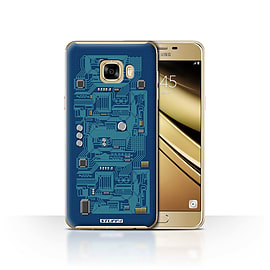 STUFF4 Case/Cover for Samsung Galaxy C7 / Blue Design / Circuit Board Collection Mobile phones