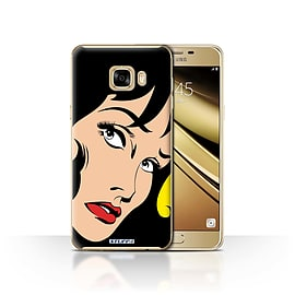 STUFF4 Case/Cover for Samsung Galaxy C7 / Black Hair Design / Comic Illustrated Girls Collection Mobile phones