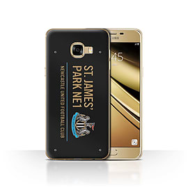 Official Newcastle United FC Case/Cover for Samsung Galaxy C5/Black/Gold Design/St James Park Sign Mobile phones