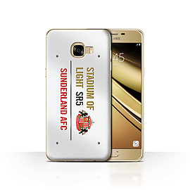 Sunderland AFC Case/Cover for Samsung Galaxy C5/White/Gold Design/SAFC Stadium of Light Sign Mobile phones