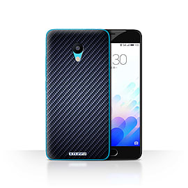 STUFF4 Case/Cover for Meizu M3 / Blue Design / Carbon Fibre Effect/Pattern Collection Mobile phones