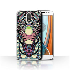 STUFF4 Case/Cover for Motorola Moto G4 2016 / Tiger-Colour Design / Aztec Animal Design Collection Mobile phones