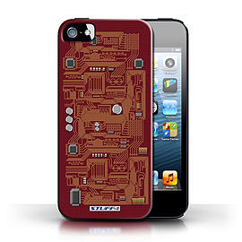STUFF4 Case/Cover for Apple iPhone SE / Red Design / Circuit Board Collection Mobile phones