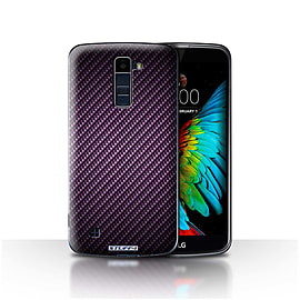 STUFF4 Case/Cover for LG K8/K350N/Phoenix 2 / Purple Design / Carbon Fibre Effect/Pattern Collection Mobile phones