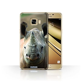 STUFF4 Case/Cover for Samsung Galaxy C7 / Rhino Design / Wildlife Animals Collection Mobile phones