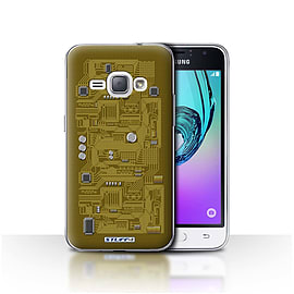 STUFF4 Case/Cover for Samsung Galaxy J1 2016 / Yellow Design / Circuit Board Collection Mobile phones