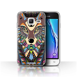 STUFF4 Case/Cover for Samsung Galaxy J1 Nxt/Mini/Wolf-Colour Design/Aztec Animal Mobile phones