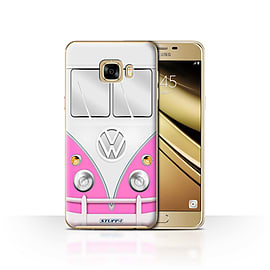 STUFF4 Case/Cover for Samsung Galaxy C7 / Pink Design / VW Camper Van Collection Mobile phones