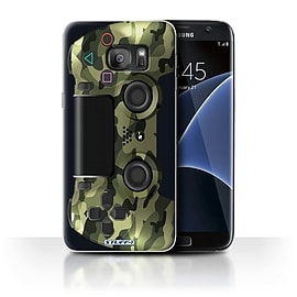 STUFF4 Case/Cover for Samsung Galaxy S7 Edge/G935/Green Camouflage Design/Playstation PS4 Mobile phones